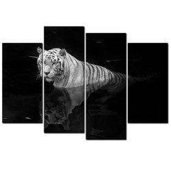YISHIYUAN 4PCS HD Inkjet Paints Black and White Tiger Animal Decorative Painting -