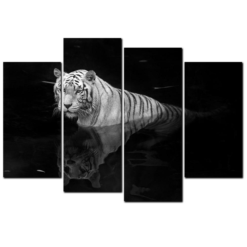 Fashion YISHIYUAN 4PCS HD Inkjet Paints Black and White Tiger Animal Decorative Painting