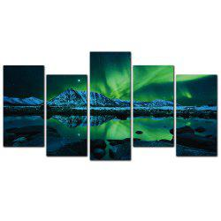 YISHIYUAN 5 Pcs HD Inkjet Paints Northern Lights Scenery Decorative Painting -