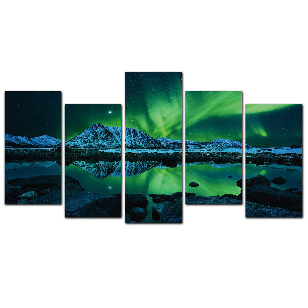 Discount YISHIYUAN 5 Pcs HD Inkjet Paints Northern Lights Scenery Decorative Painting