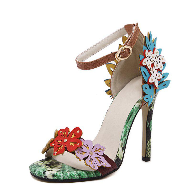 Shops Women's Stiletto Open Toe High Heels Sexy Party Sandals with Flowers