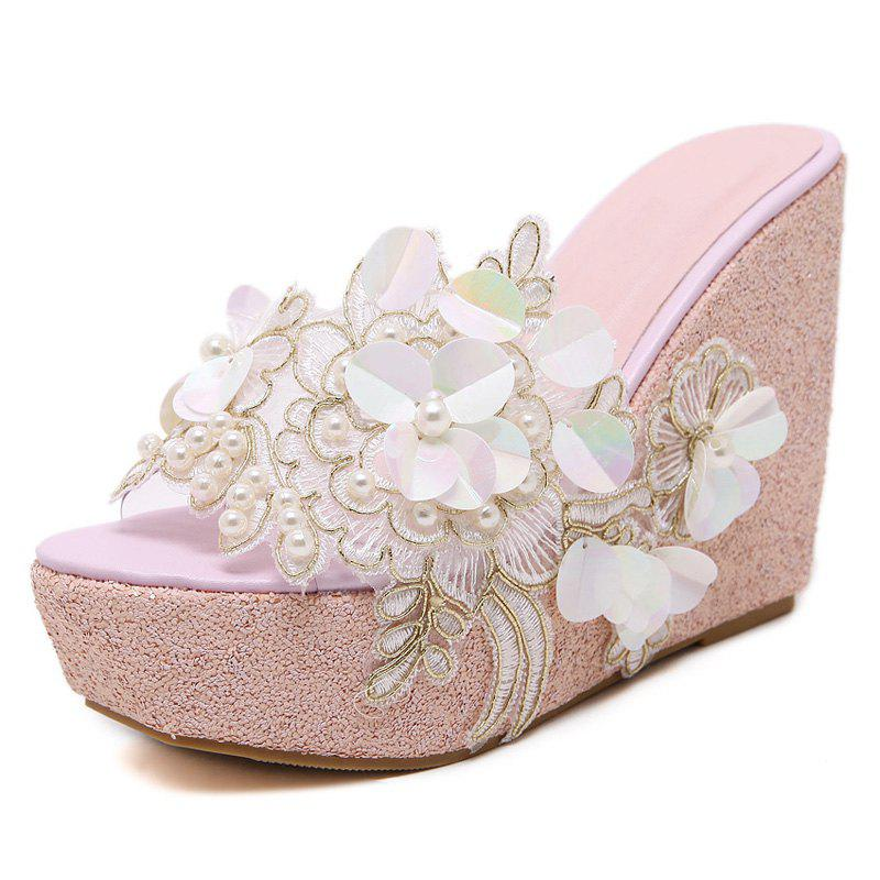 Shops Women's Wedge Shoes Fashion Slippers with Flowers White