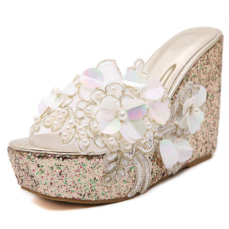 Unique Women's Wedge Shoes Fashion Slippers with Flowers White