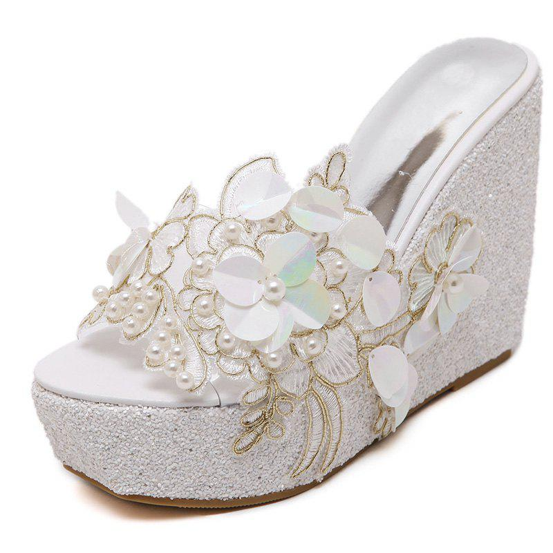 Store Women's Wedge Shoes Fashion Slippers with Flowers White