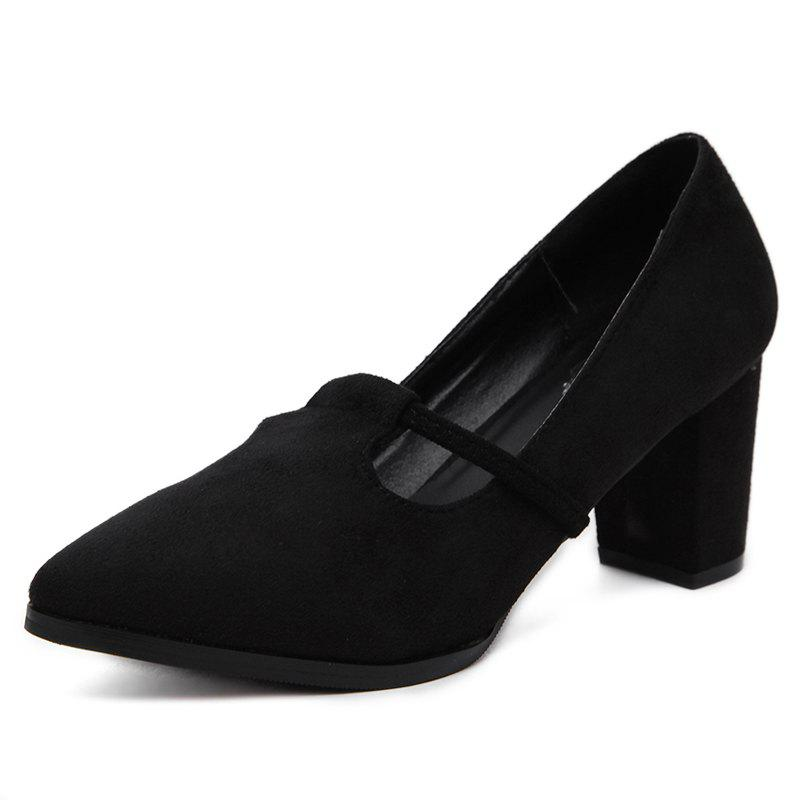 Buy Women's Pointed Toe Chunky Heel Shoes Leisure Pumps