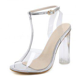 Women's Peep Toe Square Heel T-strap Sandals Fashion High Heels -