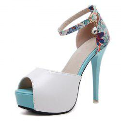 Women's Peep Toe Platform Shoes Sweet Party Sandals with Flowers -