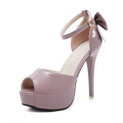 Women's Peep Toe Platform Sandals Slim Party High Heels with Bow -