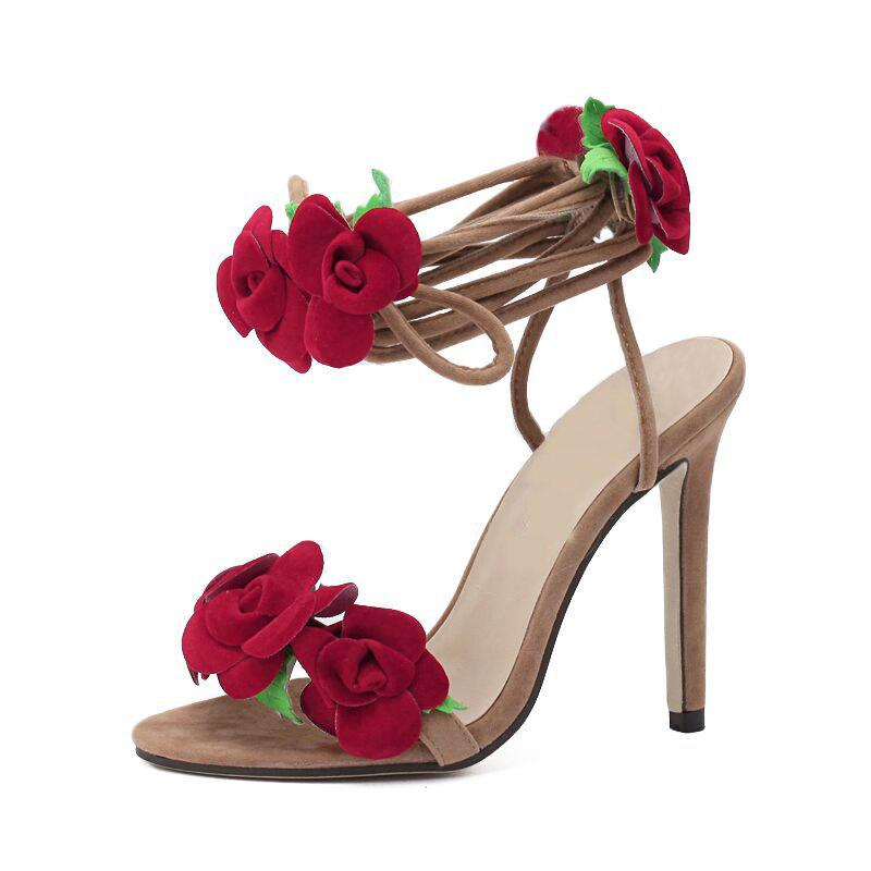 Fancy Women's Stiletto Open Toe High Heels Fashion Party Sandals with Flowers