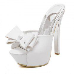 Women's Platform Mule Shoes Sweet Party Slippers with Bow -