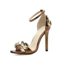 Women's Peep Toe Stiletto Sandals Chic Party High Heels with Flowers -