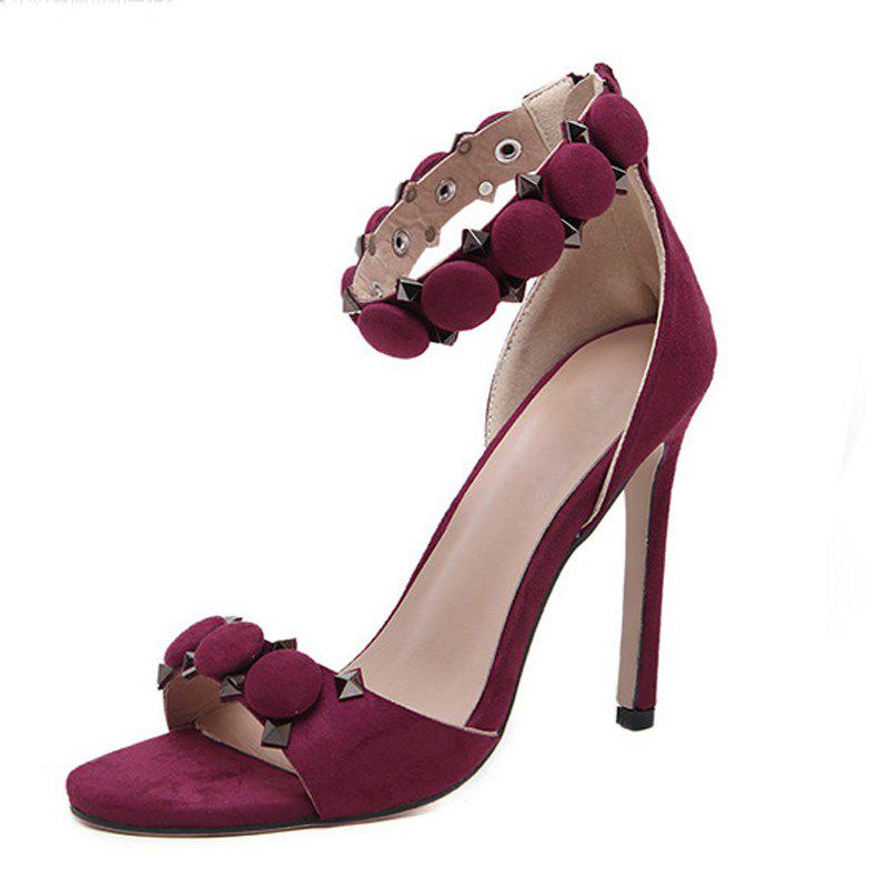 Online Women's Peep Toe Stiletto Sandals Fashion Party High Heels with Rivets