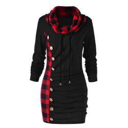 Fashionable Plaid Is Spliced in Long Style Vest -
