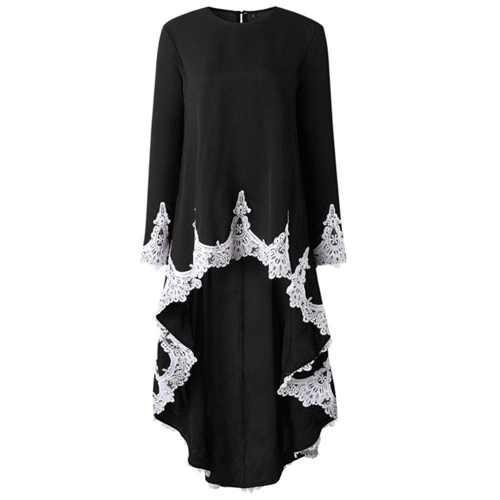 Store Fashion Lace Ruffles Long - Sleeved Dresses