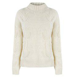 HAODUOYI Women's Beige Knit Half-Necked Openwork Loose Pullover Sweater White -