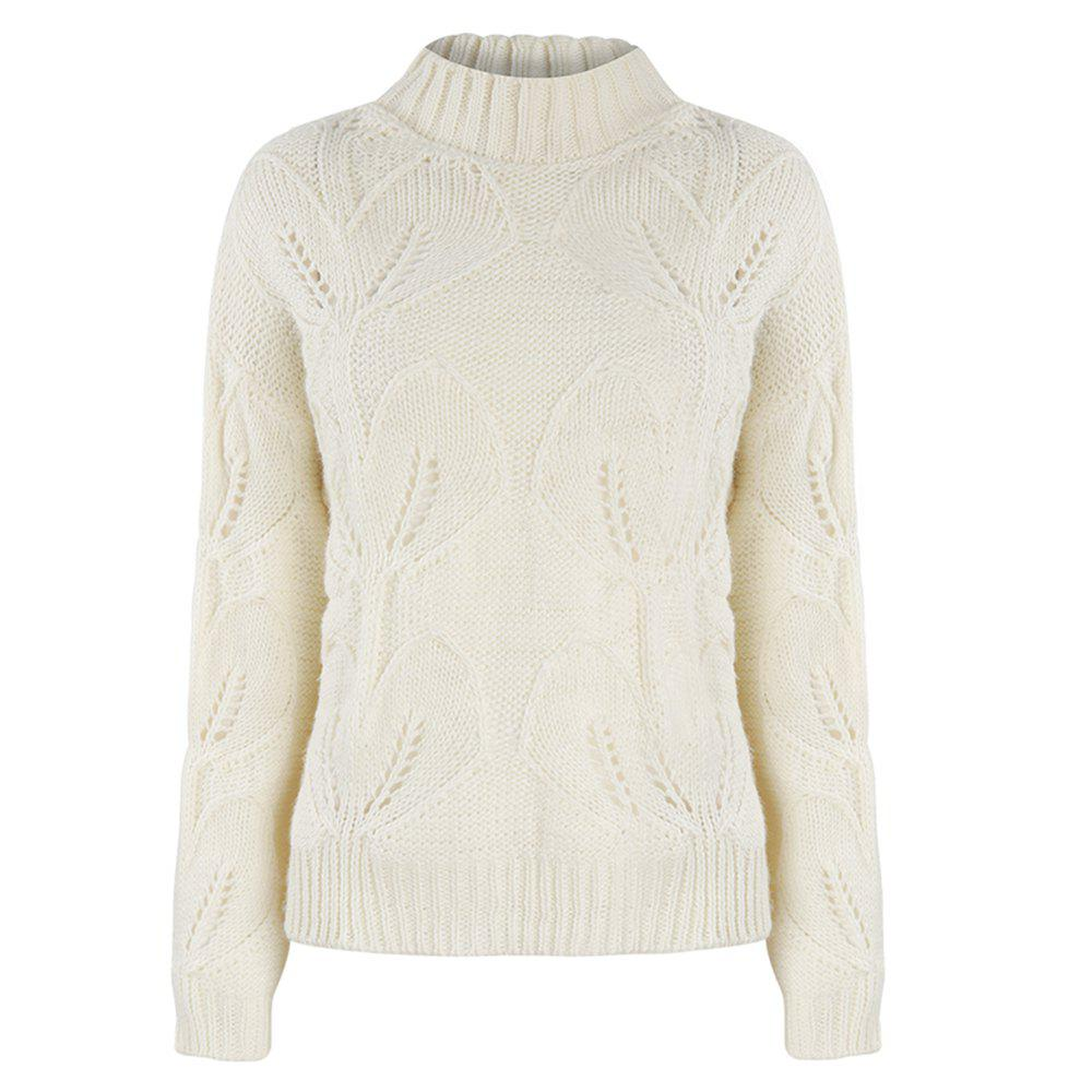 Buy HAODUOYI Women's Beige Knit Half-Necked Openwork Loose Pullover Sweater White