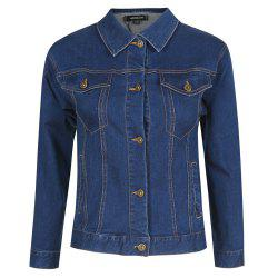 HAODUOYI Women's Embroidered Double Pocket Loose  Jacket Blue -