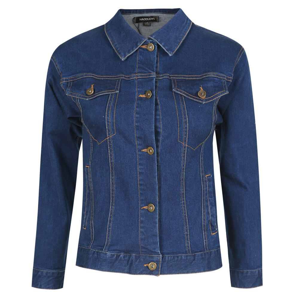 Latest HAODUOYI Women's Embroidered Double Pocket Loose  Jacket Blue