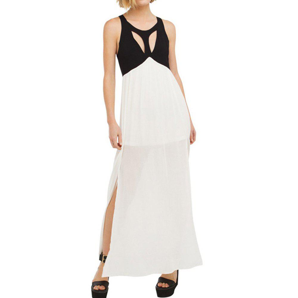Online HAODUOYI Women's Fashion Halter Dress Black and White Color