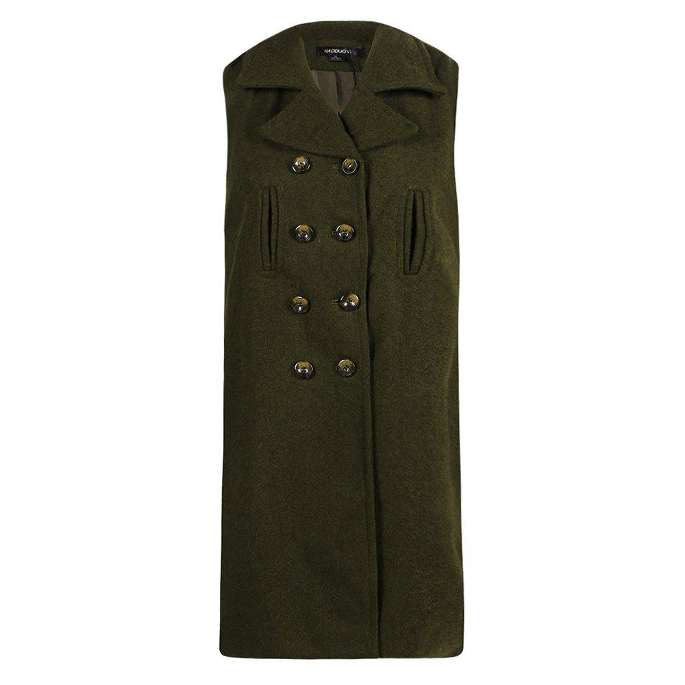 Fancy HAODUOYI Women's Buckled Wool Coat High Waist Sleeveless Trench Coat Green