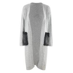 HAODUOYI Women's Deep V Windbreaker Fur Bag Sweater Coat Grey -