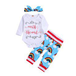 White Long Sleeved Kazakhstan Jacket with Three Pairs of Rainbow Trousers and Sc -
