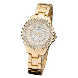 Women Luxury Quartz High Quality IP Plated Gold Wristwatches Diamond Watch Dial -