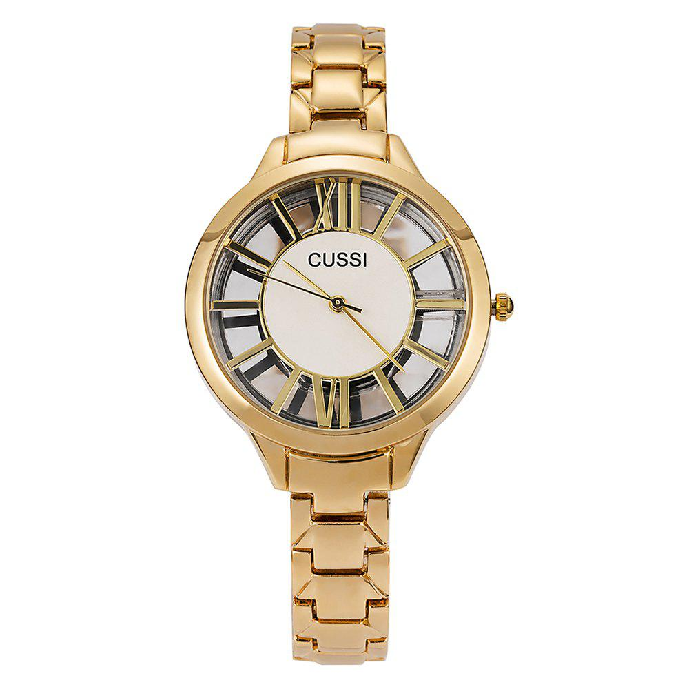 Outfit Female Character Hollowed  Watch IGP Gold Color Steel Waterproof Quartz Watch