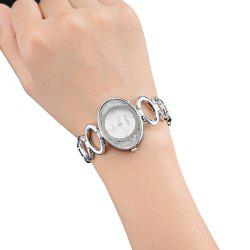 Female Diamond Belt Bracelet Watch IGP Gold Color oval Quartz Watch -