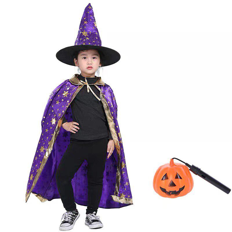 Affordable Children Witch Cosplay Cape Hat  Costume Sets for Halloween