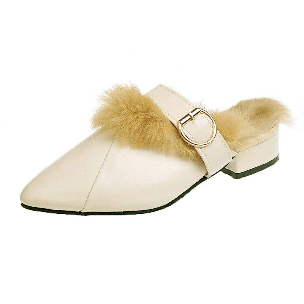 Unique Pointed Shoes Ladies Flat Shoes Hyoma Slipper Women's Shoes Cotton-padded shoes