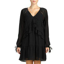 SBETRO Black Ruffled Pleated Dress with Rib-knit Cuff -