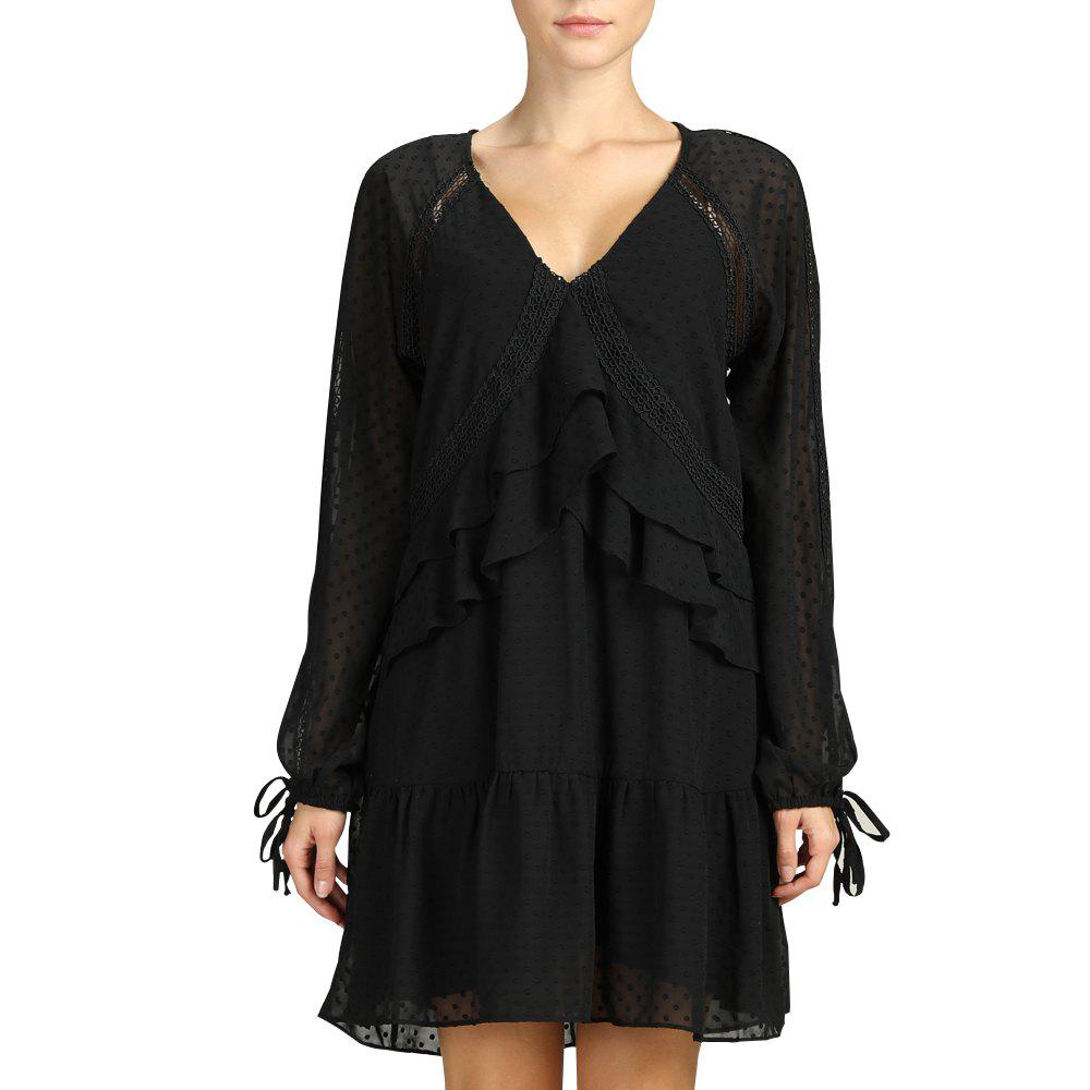 Store SBETRO Black Ruffled Pleated Dress with Rib-knit Cuff