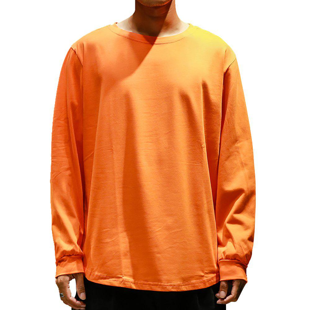 a6218005 38% OFF] Men's Round Neck Long Sleeve Simple Solid Color T-shirt ...
