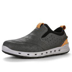 HUMTTO Men's Walking Shoes Outdoor Leather Breathable Slip-on Trekking Shoes -