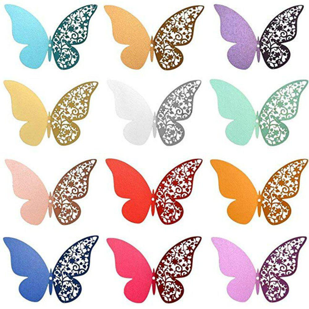 Outfits 12 pcs Butterfly  Half-hollow Colorful Wall Sticker Room Decoration
