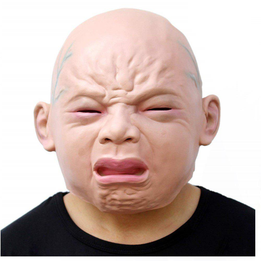 Cheap Novelty Halloween Costume Party Latex Head Mask Baby Face Cry Baby
