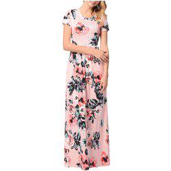 Women's Short Sleeved Round Necktie Printed Skirt -