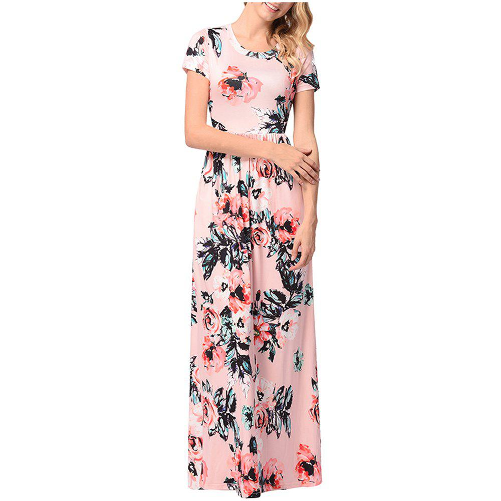 Chic Women's Short Sleeved Round Necktie Printed Skirt