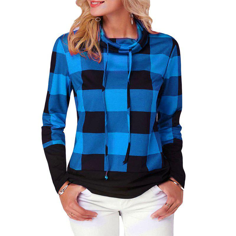 Hot Women'S Casual Contrast Color High Collar Plaid Long Sleeve Pullover