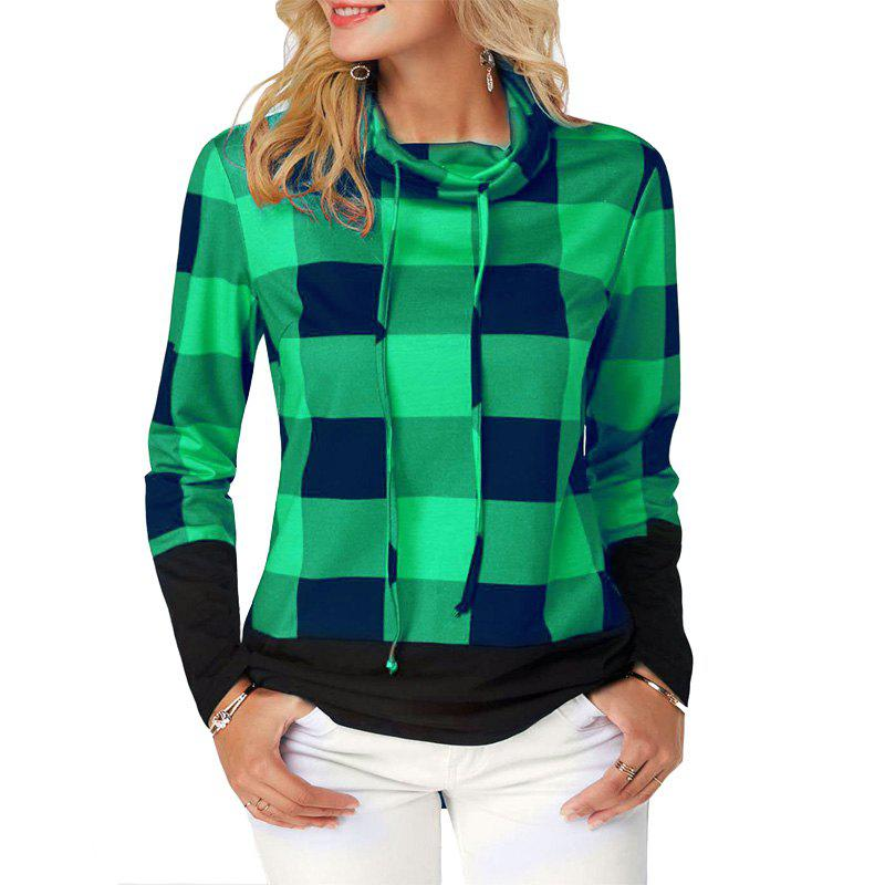 Shops Women'S Casual Contrast Color High Collar Plaid Long Sleeve Pullover
