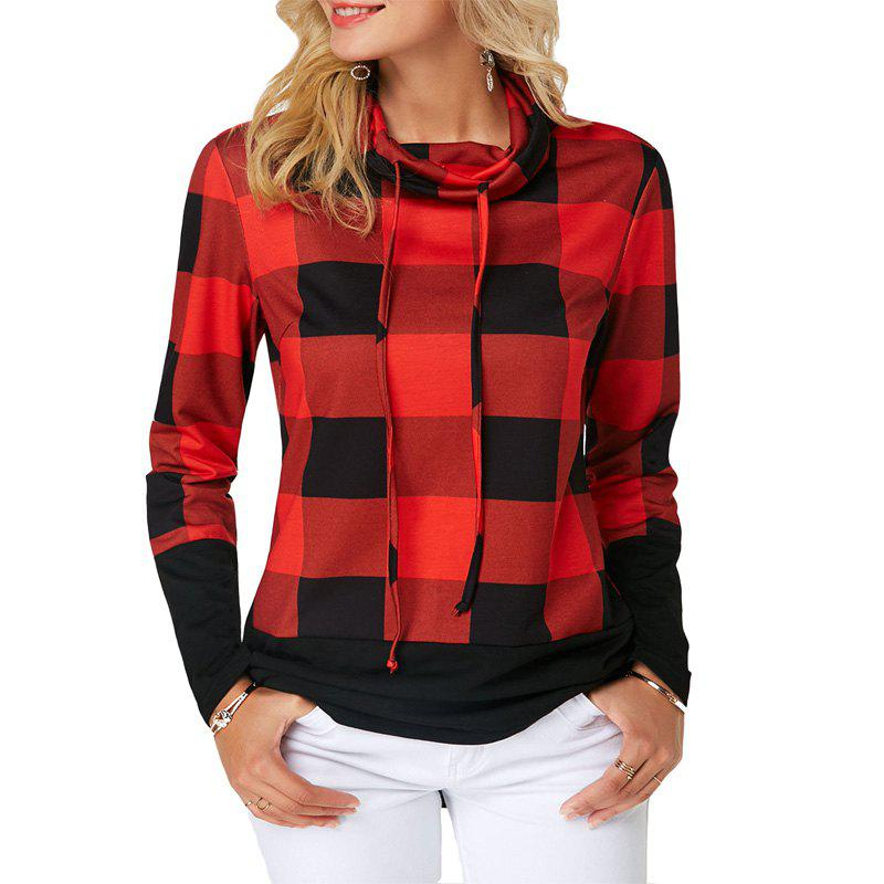 Sale Women'S Casual Contrast Color High Collar Plaid Long Sleeve Pullover