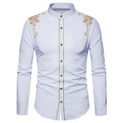 Men's Fashion Court Embroidered Top Long Sleeve Casual Slim Shirt -
