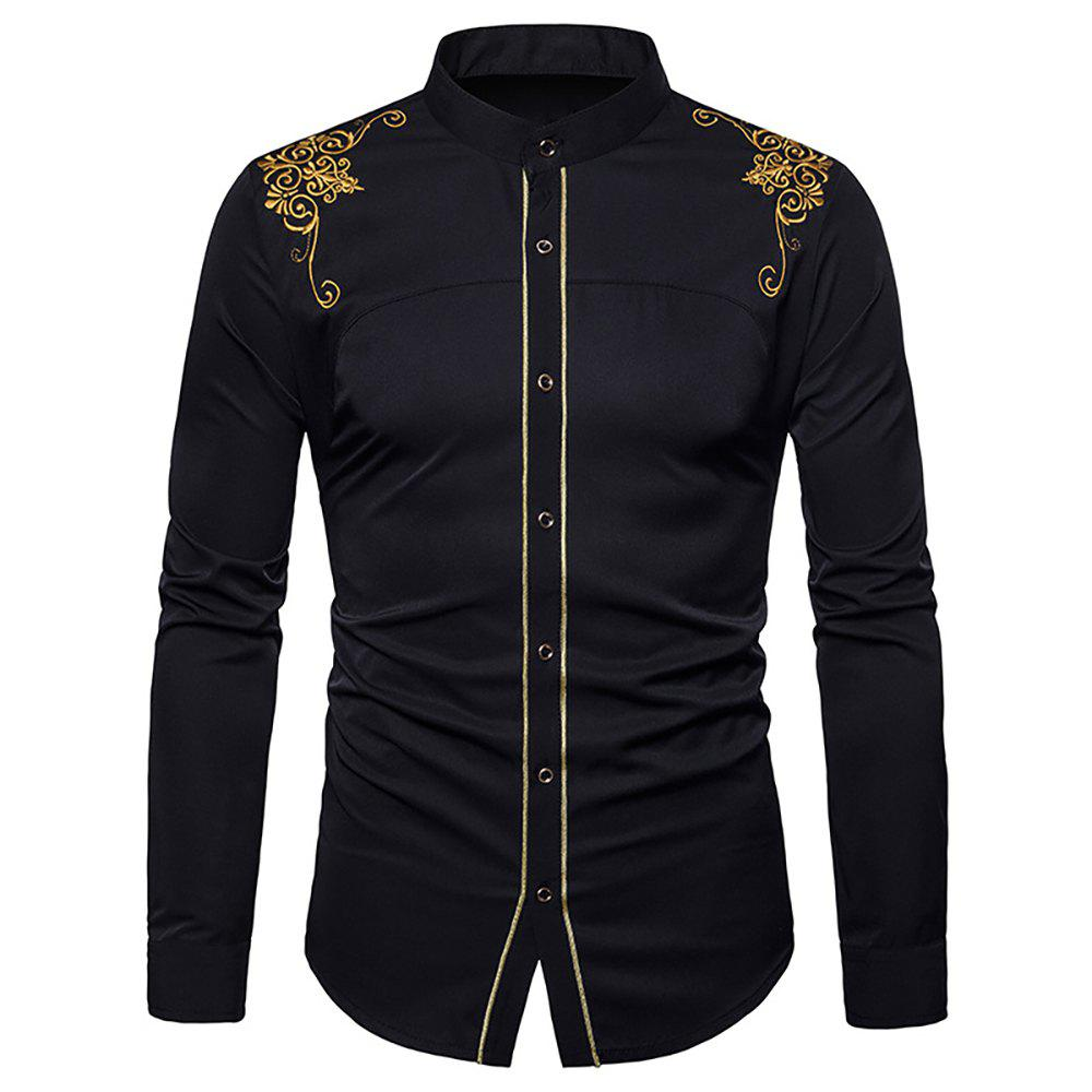 Best Men's Fashion Court Embroidered Top Long Sleeve Casual Slim Shirt