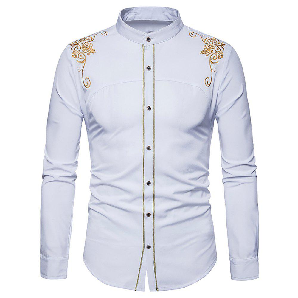 Shops Men's Fashion Court Embroidered Top Long Sleeve Casual Slim Shirt