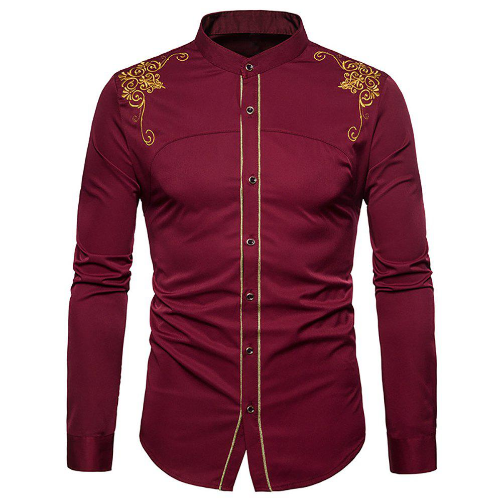 New Men's Fashion Court Embroidered Top Long Sleeve Casual Slim Shirt