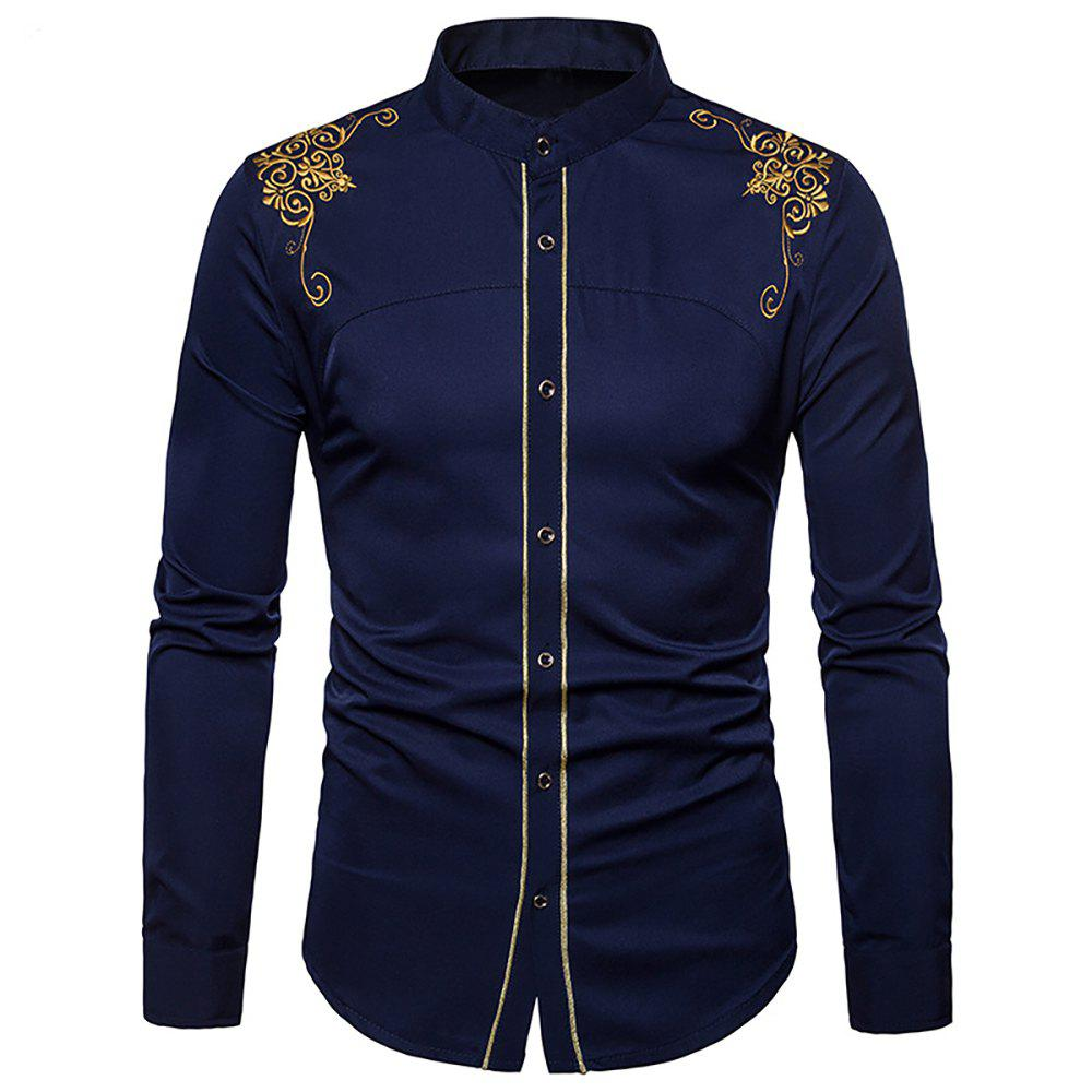Cheap Men's Fashion Court Embroidered Top Long Sleeve Casual Slim Shirt