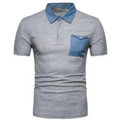 Men's Fashion Panel Top Short Sleeve Lapel T-Shirt -