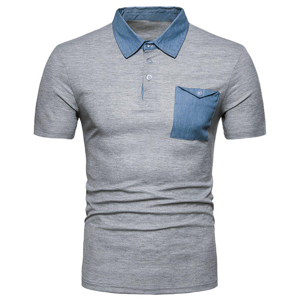 Unique Men's Fashion Panel Top Short Sleeve Lapel T-Shirt