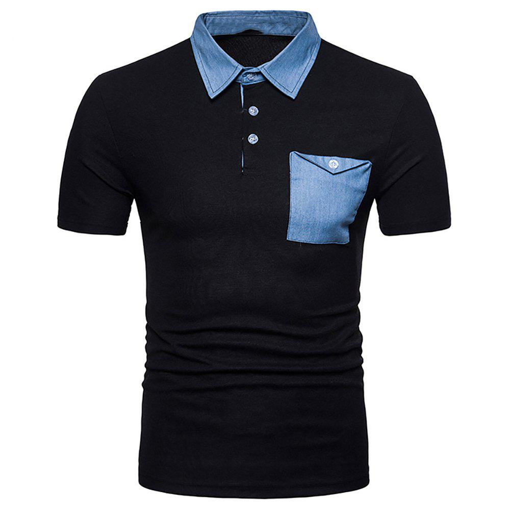 Sale Men's Fashion Panel Top Short Sleeve Lapel T-Shirt